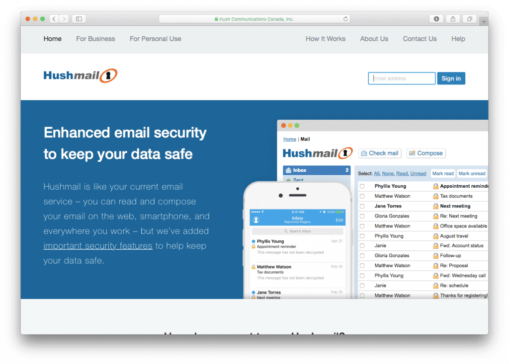 hushmail service de mails sécurisés